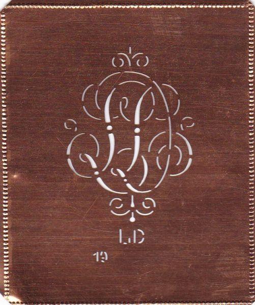 Kupferschablone, Monogrammschablone Stickschabone LD