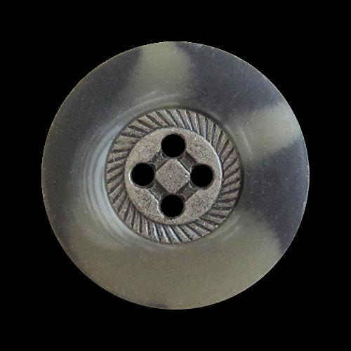 www.knopfparadies.de - 1014gb - Trachtige Vierlochknöpfe mit Metallmitte und Kunststoffrand