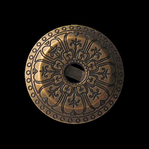 Bildschöne altmessingfarbene Metallknöpfe mit Ornament Muster und Öse