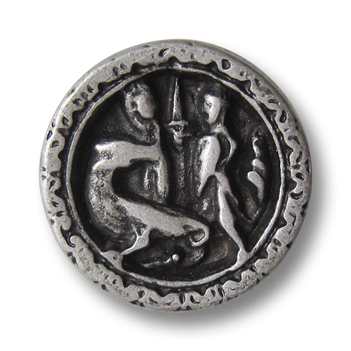 www.Knopfparadies.de - 0824as - Altsilberfarbene Metallknöpfe mit Drachen Motiv