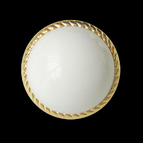 www.knopfparadies.de - 3614wg - Stark gewölbte Kunststoffknöpfe in weiß und gold