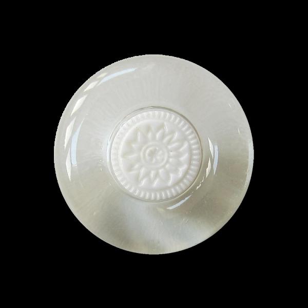 Kunststoff Ösen Knopf mit Blume in Weiß und Transparent