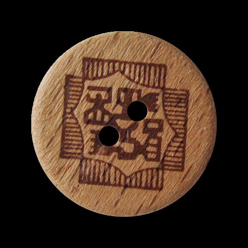 www.Knopfparadies.de - 1615ho - Originelle braune Holzknöpfe mit Schriftzeichen oder Symbolen