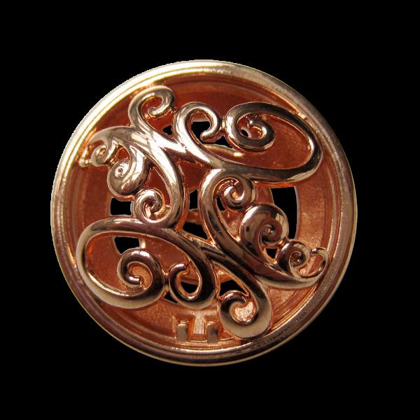 Sensationeller rotgoldfb. Metall Knopf mit Durchbruch
