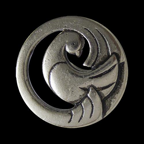 www.Knopfparadies.de - 5265as - Traumhaft schöne Metallknöpfe in Altsilber mit Tauben Motiv