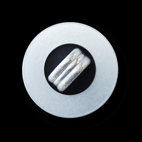 Silbergrau schwarzer Knopf mit silberfarb. Applikation