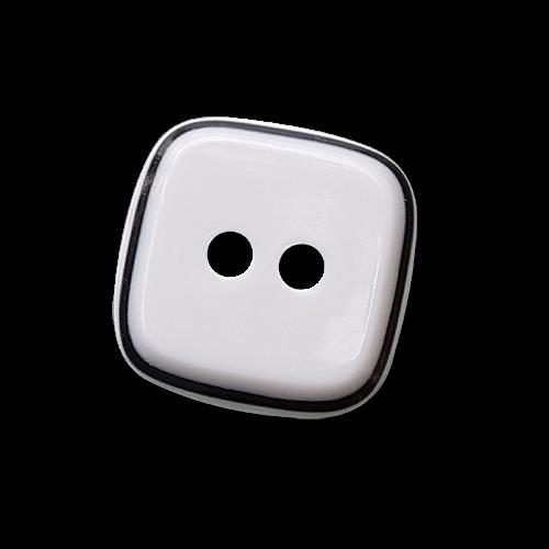 Klassischer viereckiger weiß schwarzer Zweiloch Knopf