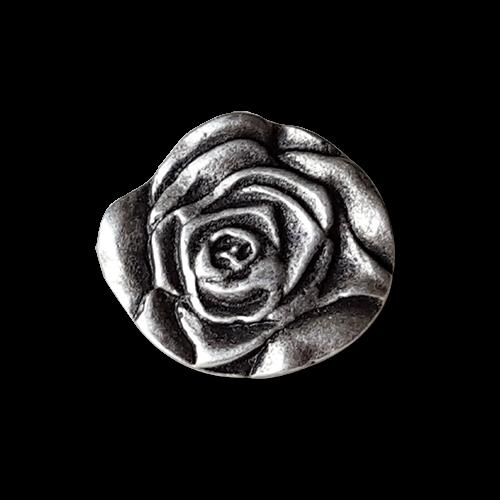 www.knopfparadies.de - 1348ro - Wunderschöne Trachtenknöpfe, echt versilbert. Motiv: Rose