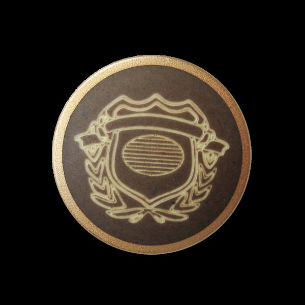 Braun goldfb. Metall Knopf mit naturweißem Wappen