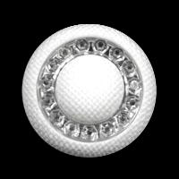 Attraktiver weißer Kunststoff Knopf m. Glitzer Steinen