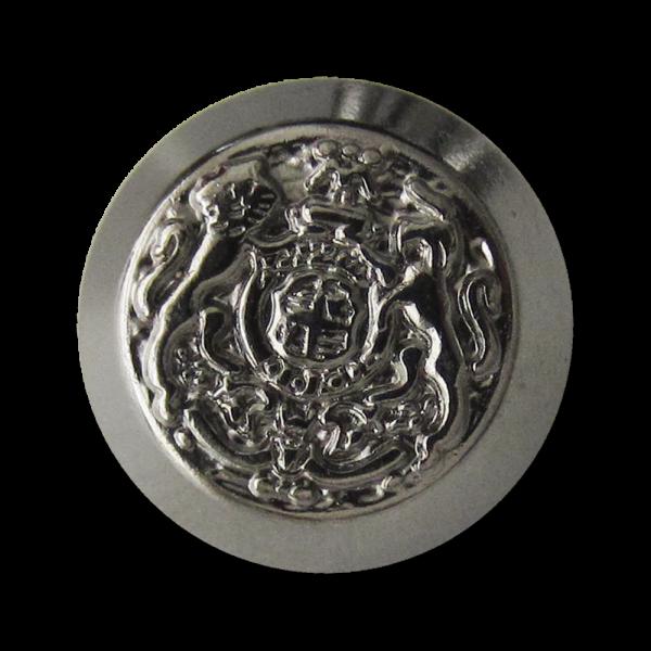 Glänzend chromfarbener Metall Ösen Knopf mit Wappen