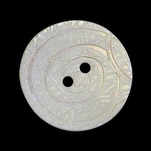 Elfenhafte, zarte Perlmuttknöpfe mit Lasermuster, grau schimmernd