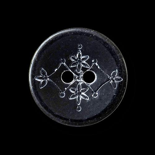 Schwarzer kleiner Kunststoff Knopf mit Blumen Muster