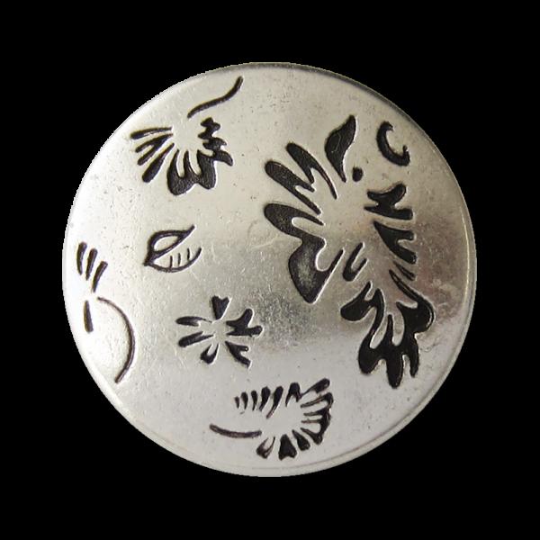 Metall Ösen Knopf in Altsilberfarben mit abstraktem floralem Muster