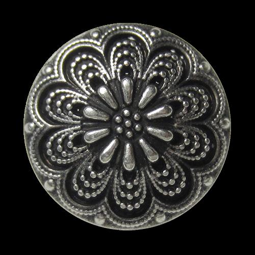 www.Knopfparadies.de - 5870as - Traumhaft schöne silberne Metallknöpfe mit Blumen Motiv