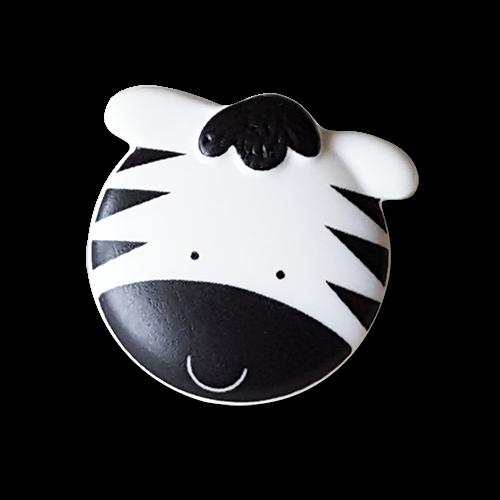 Schwarz-weißer Kinderknopf in Zebra Design