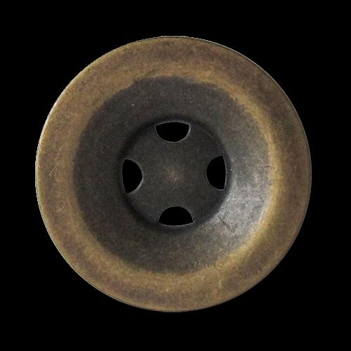 www.knopfparadies.de - 3648am - Altmessingfarbene Metallknöpfe mit vier Löchern