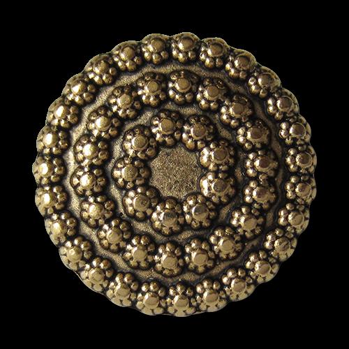 www.Knopfparadies.de - 5078ag - Goldene Metallknöpfe mit Blumen Muster