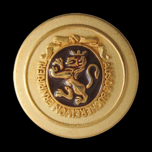 www.Knopfparadies.de - 0311br - Edle Metallknöpfe in Gold und Braun mit Löwen Motiv