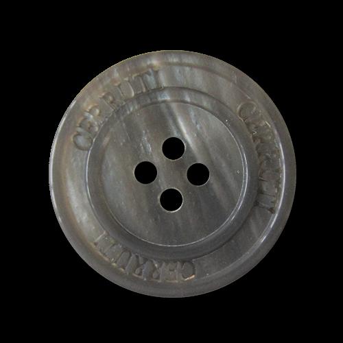 Grauer Vierloch Kunststoff Knopf mit Designer Logo