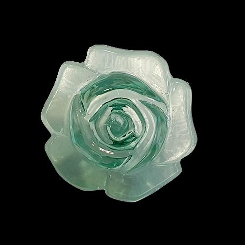 www.www.knopfparadies.de - k423gr - Hellgrün glasklare Blusenknöpfe in Rosenform