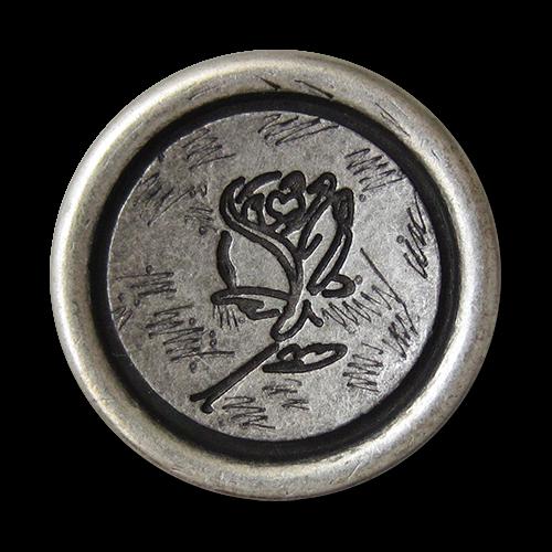 www.knopfparadies.de - 1486as - Altsilberfarbene Trachtenknöpfe mit Motiv: Rose