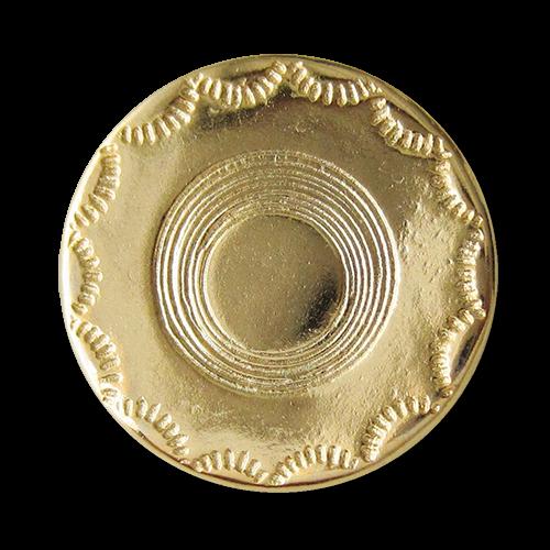 www.Knopfparadies.de - 2514gg - Älter wirkende glänzend goldene Metallknöpfe mit schlichtem Muster