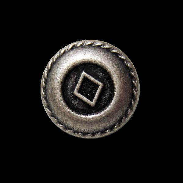 Kleiner altsilberfb. Metallknopf mit Raute für Blusen