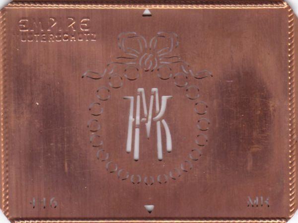 Stilvolle Jugendstil Kupfer Schablone mit Kranz und Schleife - Rarität - MK
