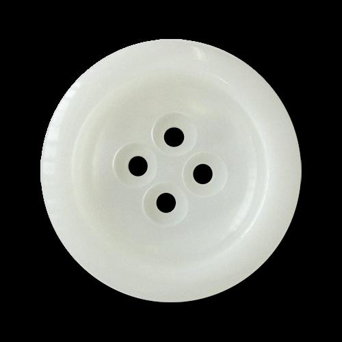 www.knopfparadies.de - 3031we - Mantelknöpfe mit vier Löchern in schimmerndem weiß