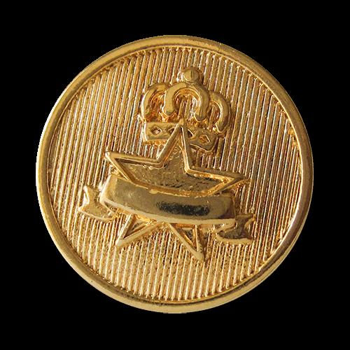 www.Knopfparadies.de - 3079go - Edle goldene Motiv Metallknöpfe mit Krone & Stern
