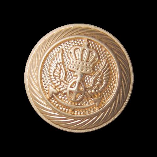 Prunkvoller Metall Ösen Knopf in Goldfarben mit Krone, Flügeln und Anker