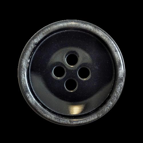 www.knopfparadies.de - 6025gr - Schwarze Kunststoffknöpfe mit grauem Rand