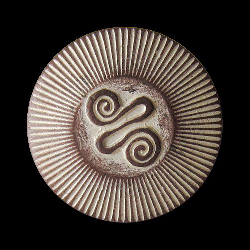 www.Knopfparadies.de - 0425ku - Alt wirkende Metallknöpfe mit Spiral Symbol in Kupfer-Weiß