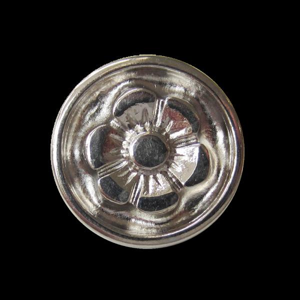 Glänzend silberfarbener Blumen Metall Knopf mit Öse