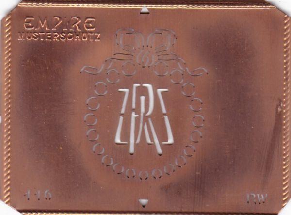 Stilvolle Jugendstil Kupfer Schablone mit Kranz und Schleife - Rarität - RW
