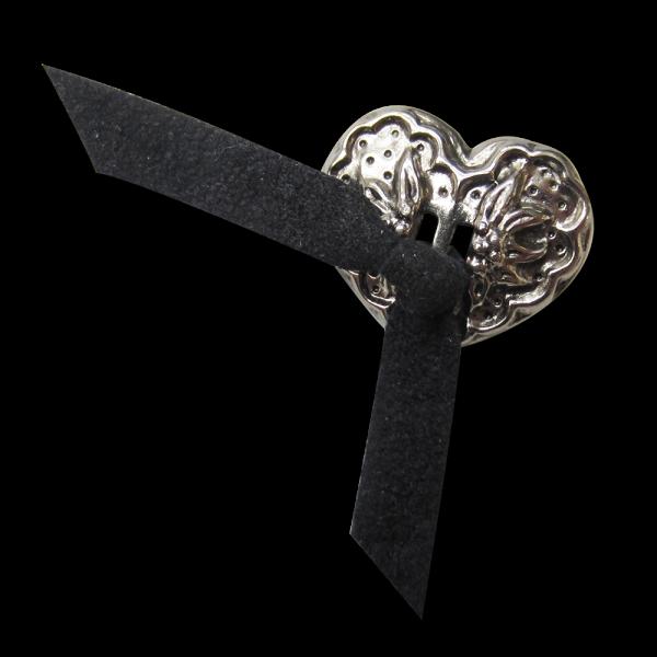 Silberfb. Herz Metall Knopf mit blauer Leder Schleife