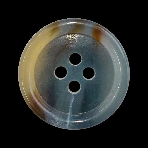 www.knopfparadies.de - 5508gb - Blau-braune Kunststoffknöpfe mit vier Löchern