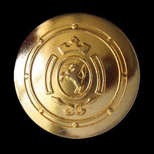 www.Knopfparadies.de - 0317gg - Schwarz goldene Metallknöpfe mit Einhorn Wappen