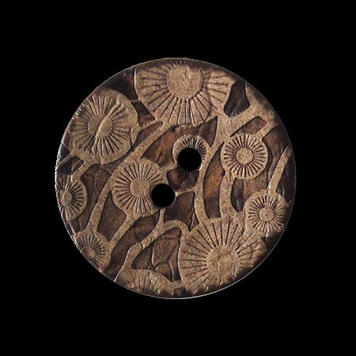 Zweilochknopf aus Kokosnuss mit floralem Muster - knopfparadies,de