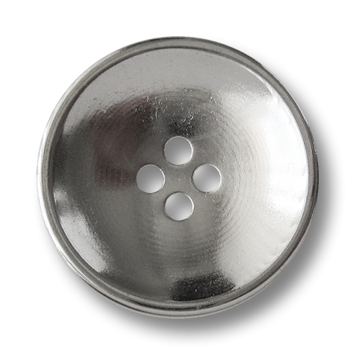 www.Knopfparadies.de - 1580si - Silberne Vierloch Metallknöpfe in Schüssel Form