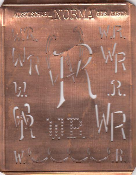Aussteuerschablone, Wäsche-Schablone NORMA Kupfer Monogramm WR