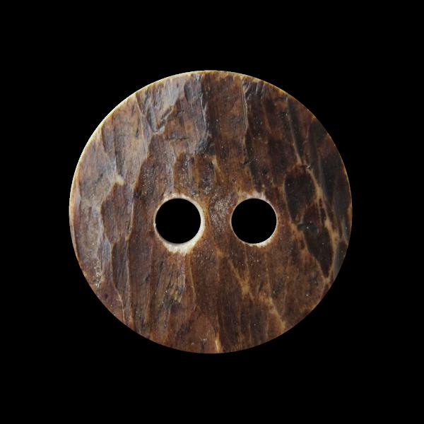 Brauner Trachten Knopf aus Bein in Hirschhorn Optik