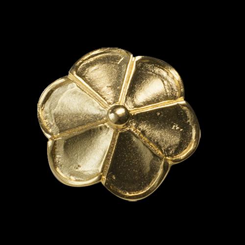 Goldfarbener Metall Ösen Knopf wie eine Blüte