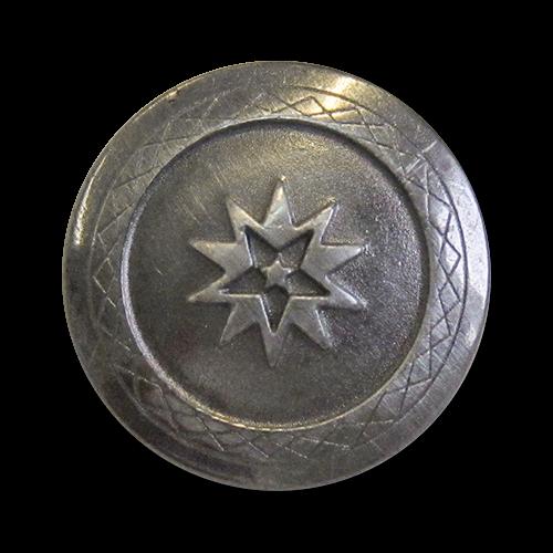 www.knopfparadies.de - 3926ei - Eisenfarbene Metallknöpfe mit Stern