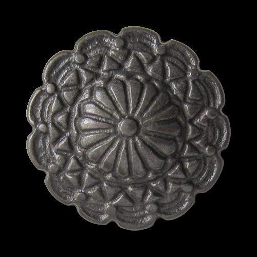 www.Knopfparadies.de - 0427ei - Exklusive eisenfarbene Metallknöpfe wie nostalgische Blüte