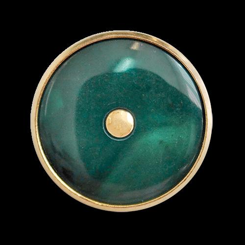 www.knopfparadies.de - 6031gn - Duneklgrün schimmernde Blazerknöpfe mit goldfarbenem Rand