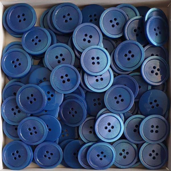 www.knopfparadies.de - 411123 - Blaue, farbig changierende Knöpfe zum Großhandelspreis