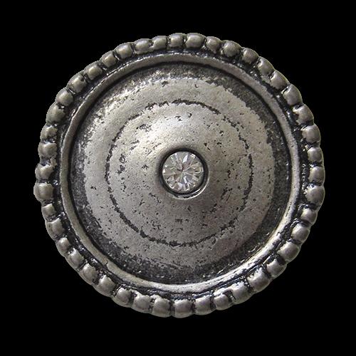 www.knopfparadies.de - 3490as - Glitzernde Metallknöpfe in altsilber