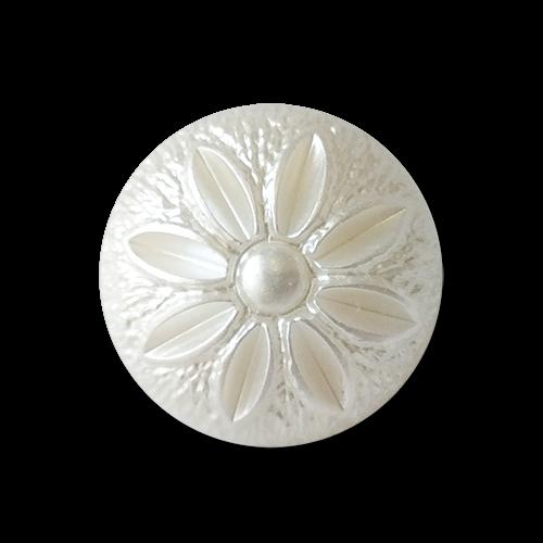 www.knopfparadies.de - 4294we - Weiß schimmernde, kleine Kunststoffknöpfe mit Blüte